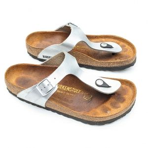 BIRKENSTOCK Gizeh silver leather t-strap sandals